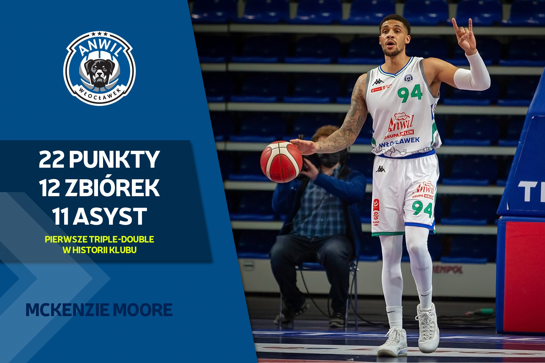 Wideo | Triple-double McKenziego Moore'a