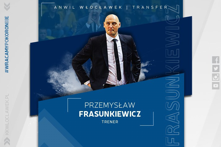 Przemysław Frasunkiewicz nowym pierwszym trenerem Anwilu Włocławek